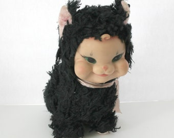 Rare Vintage Rushton Black Pink Cat Vintage 1950s Meows Cries Sound Motion