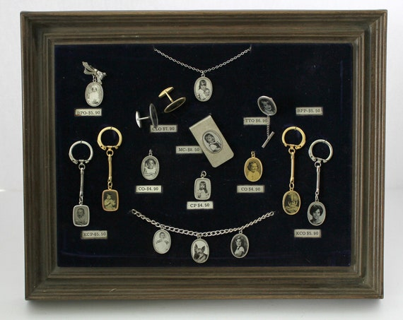 Vintage Salesman Counter Display Custom Photo Charms, Necklace, Keychains, Cufflinks, Pendant, Tie Clip, Money Clip, Vintage 1960s