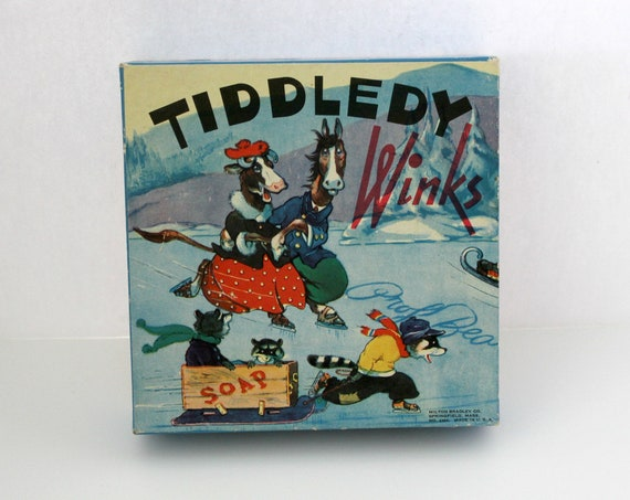 Vintage Tiddledy Winks Game in Box, Complete 1939 by Milton Bradley, Jumping Target Game