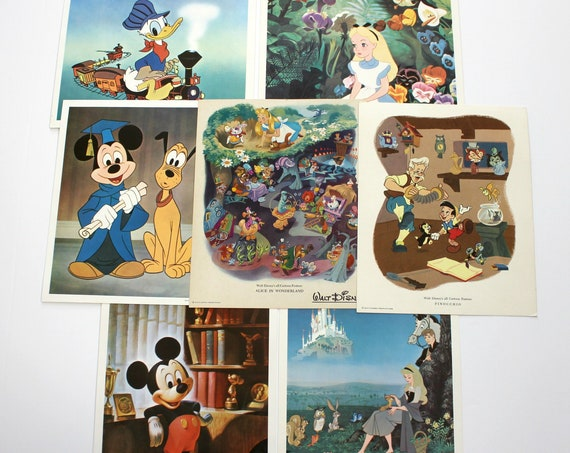 Vintage Walt Disney Prints Fan Club 8x10 1960s Movie Prints | Alice in Wonderland | Pinocchio | Sleeping Beauty | Mickey Mouse | Donald Duck