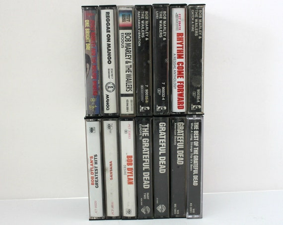 Lot 14 Vintage Cassette Tapes Rock Reggae, Marley, Dylan, Santana, Grateful Dead
