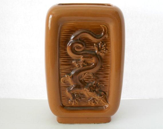 Vintage Dragon Vase Mid Century Napco 724 1950s Chinese Modern