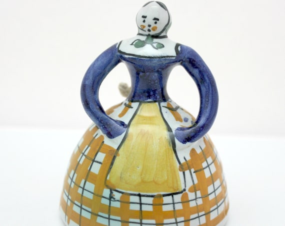 Vintage Quimper Folk Art Bell, Pottery Woman Lady Shaped Pottery Dinner Bell