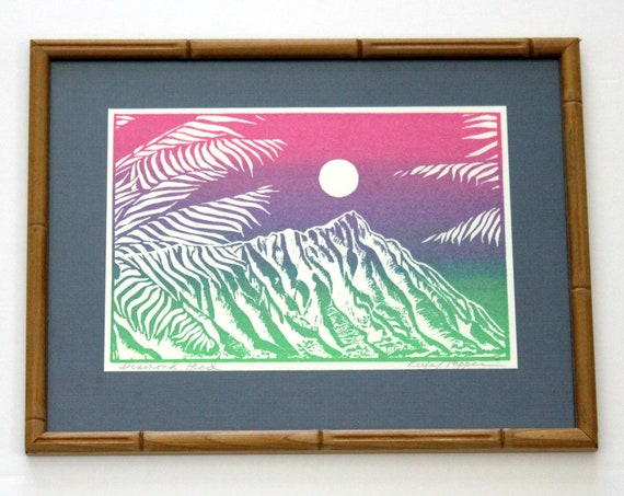 Vintage Hawaiian Diamond Head Silkscreen Print, Signed in Bamboo Frame, Silk Screen Screenprint Kiefe / Tepper