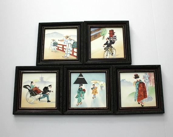 Set 5 Vintage Japanese Hand Painted Tiles, 1950s Framed Series, Delivery, Geisha, Rickshaw,