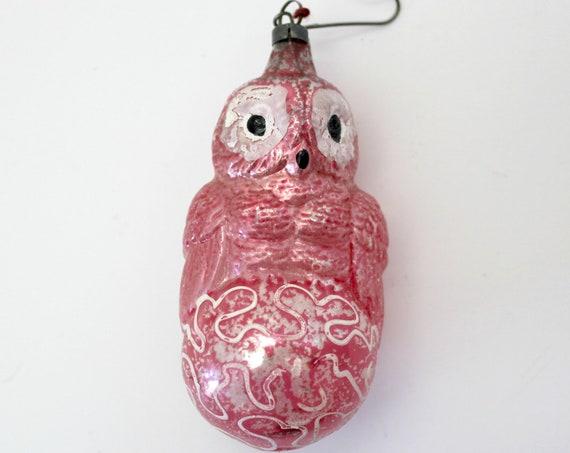 Antique Pink Owl Glass Christmas Ornament, 1920s Glass Bird Tree Ornament