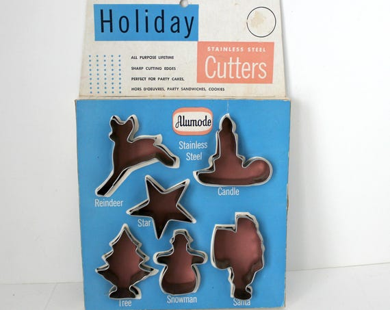Vintage Holiday Cookie Cutters by Alumode, Christmas Candle, Reindeer, Tree, Santa, Star, Snowman