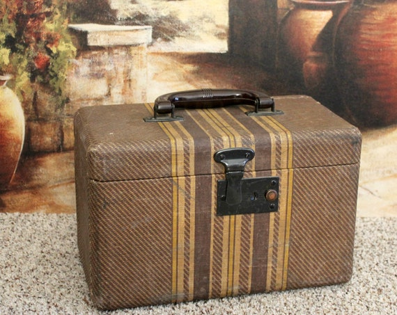 Vintage Small Suitcase | Brown Tweed Striped Luggage | Bakelite Handle | Travel Makeup Case