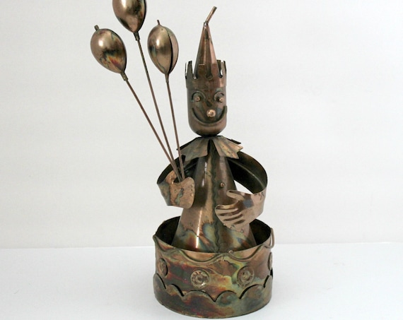 Vintage Send In The Clowns Copper Music Box | Mid Century 70s Circus Clown Sculpture Figure with Balloons