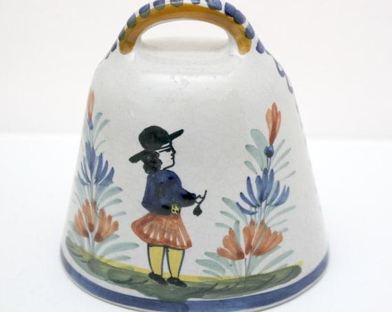 Vintage HB Quimper Cowbell Dinner Bell, Breton France Pottery, Man among Florals