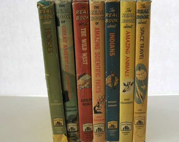 Vintage Real Book Set of 7, H/B Children's Learning Book Club Editions, Space, Animals, Horses, Science