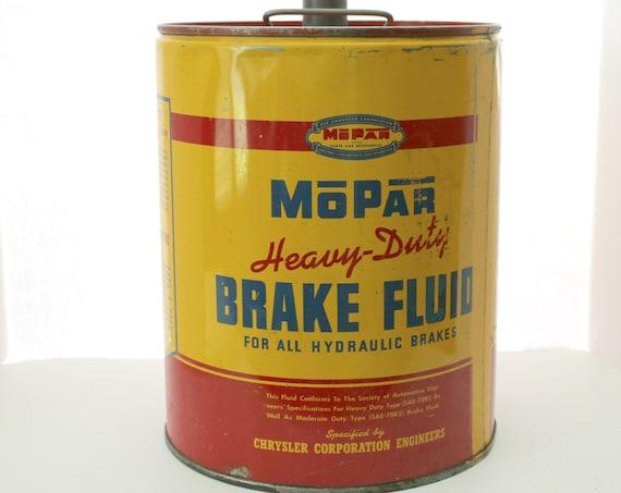 Vintage Mopar Brake Fluid 5 Gal Drum Tin Can Dodge Chrysler Auto