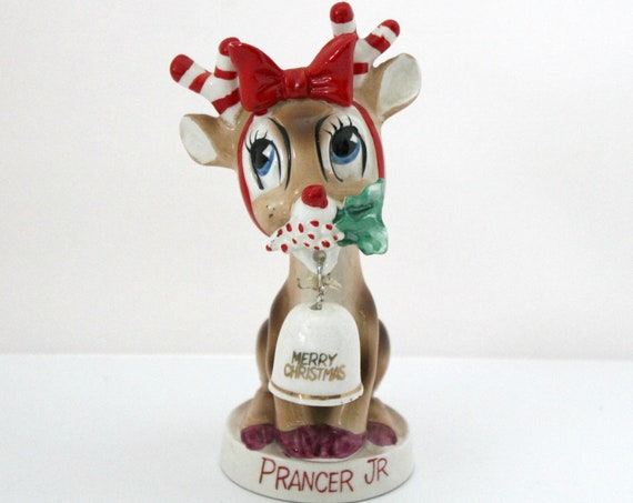 Vintage Prancer Jr Reindeer Figurine with Bell, Christmas Decor Figure, Japan
