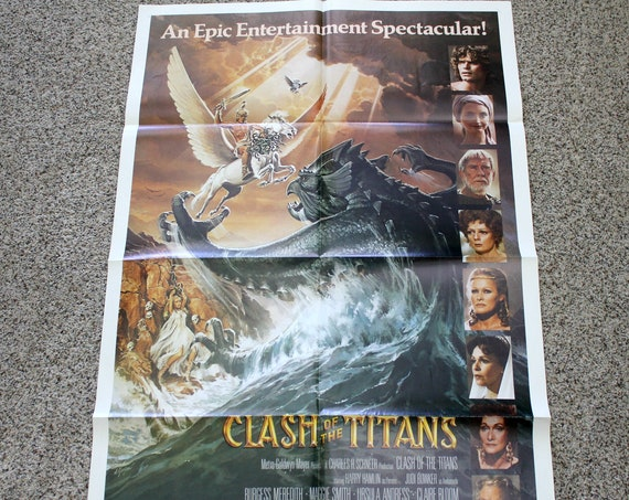 "Vintage Clash of The Titans Movie Poster, Original Advance One Sheet 27"" x 41"""