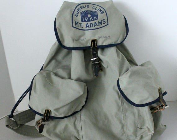 1966 Mt. Adams Sunfair Club Backpack, Vintage Yakima WA Back Pack Hiking Bag