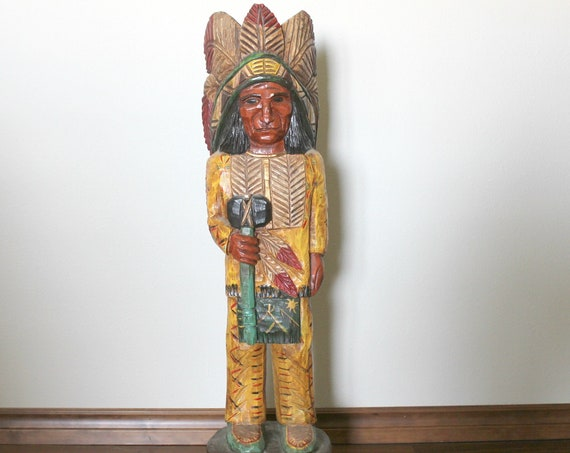 Vintage F. Gallagher Native American Indian Wood Sculpture, Carved Wooden Statue Figure, Cigar Store Folk Art