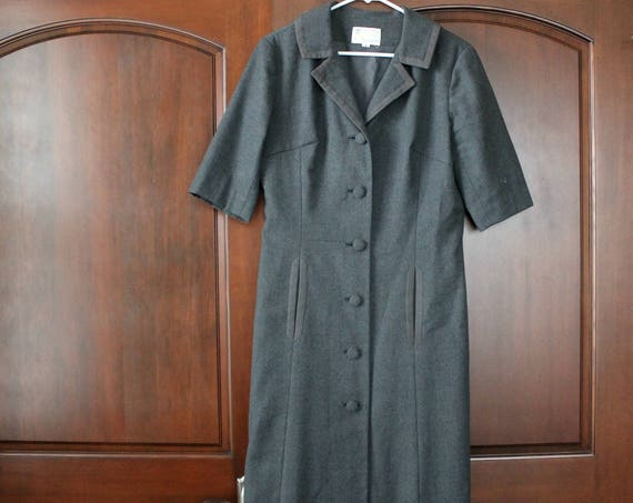 Vintage 60s Gray Sheath Dress by Royal Lynne, Short Sleeve Dress, Mad Men Business Formal Office