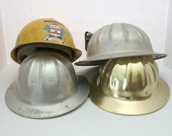 Lot 4 Vintage Hard Hats, Gold Fibre Metal, Jackson Fiberglass, BF McDonald,