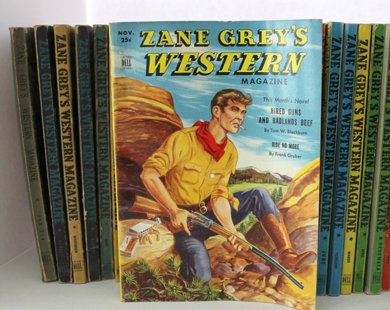 Lot of 50 Zane Grey's Western Magazine Digest by Dell, Vintage 1940s 1950s
