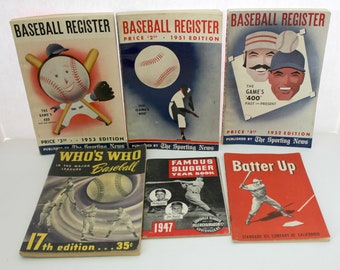 Lot of 1940s 1950s Baseball Publications Digests | Baseball Register | Who's Who | Famous Slugger Year Book | Batter Up Standard Oil