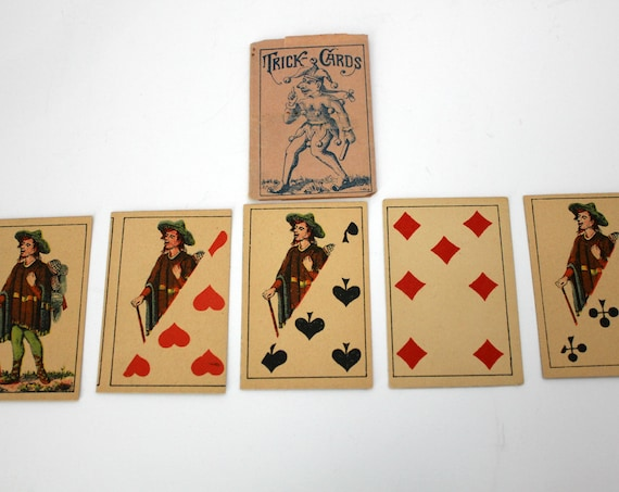 2 Antique Magic Trick Card Decks, German Vintage 5 Card Trick with Jester Joker Paper Sleeves