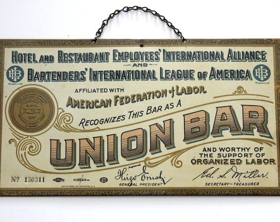 Vintage 1930s AF of L Union Bar Sign, Original Tin Bartender Hotel Restaurant, American Federation of Labor Sign