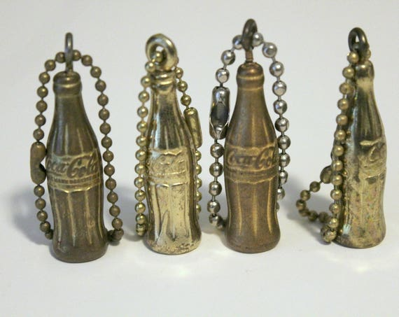 4 Coca Cola Coke Bottle Keychain Charms, Vintage 1960s advertising
