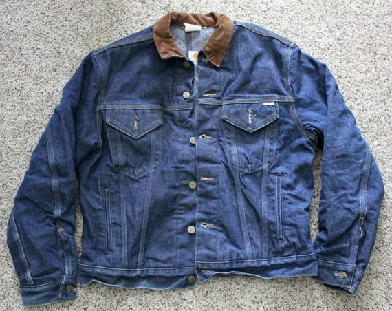 Vintage Carhartt Jacket Size 42, Denim Jean Trucker Worker Coat w/ Fleece Lining