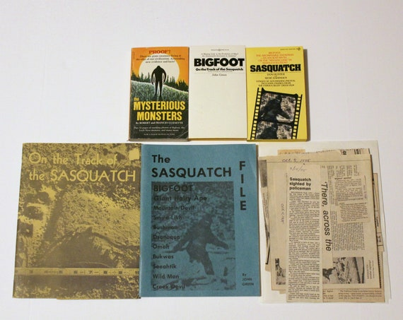 Vintage Lot Bigfoot Sasquatch Monsters Books Newspaper Articles Clippings 1970s