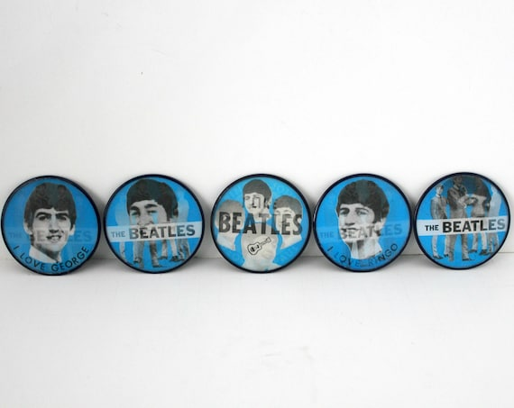 Vintage Beatles Flicker Pin Back Buttons, 1960s Set of 5 by Vari-Vue, Flasher Flip Pinback