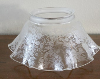Antique Oil Lamp Glass Shade, Fluted Edge, Clear with Floral Transfer Print
