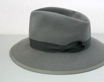 Vintage Marathon JC Penney's Fedora Mens Hat, 1950s Gray Felt