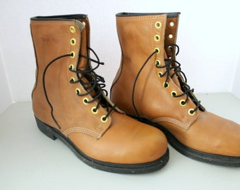 Vintage 1980 Iron Age Work Boots New NOS, Mens Brown Leather Size 9.5 EEE 9 1/2 3E