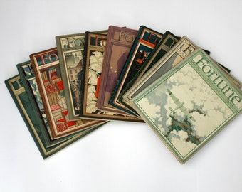 Lot of 10 Fortune Magazines 1931, 1933 1934 Issues, Vintage Depression Era Articles Advertisments