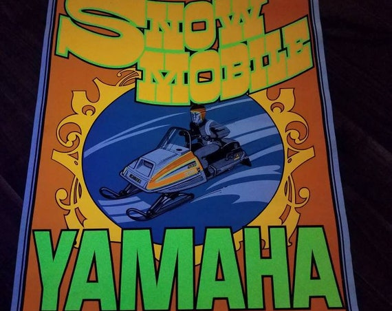 Vintage Yamaha Snowmobile 340 Exciter Poster, 70s Black Light Fluorescent Dealership Advertising