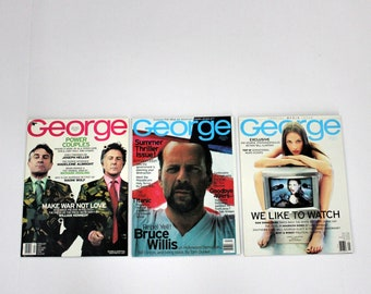 George Magazine Lot of 3, February, May, July 1998 Issues, Deniro, Dustin Hoffman, Christy Turlington, Media, Bruce Willis, Bill Clinton