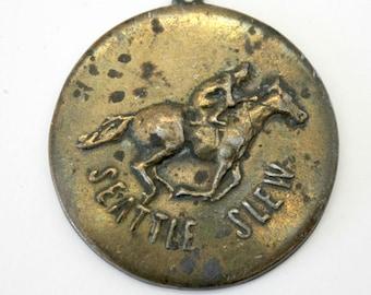 Vintage Seattle Slew Medal Medallion Pendant Rare 1977 JD Holway Artist Signed