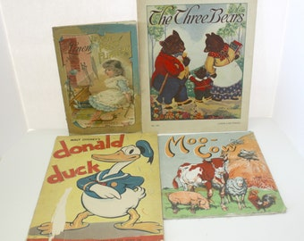 Lot 1890s Antique Linen Children's Books Little Polly Flinders Rhymes, Moo Cow, Plus Donald Duck, The Three Bears