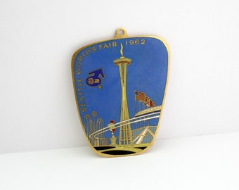 "Rare Seattle World's Fair 1962 Century 21 Large 4"" Enamel Medal Metal Pendant Souvenir"