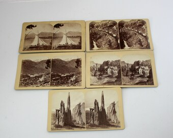 Lot 5 Gurnsey's Stereoview Cards Rocky Mountain Views, Railroad, Transportation, Colorado, Antique Stereograph