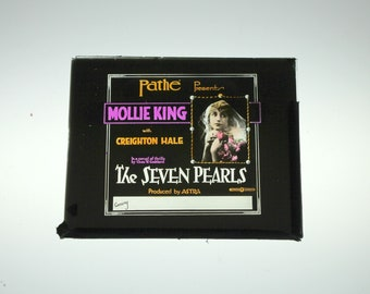 Magic Lantern Slide, Mollie King The Seven Pearls Silent Film, Vintage 1917