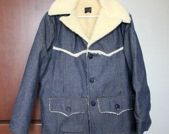 Vintage Roebucks Denim Blue Jean Jacket   Sears Sherpa Lined Work Coat 46R