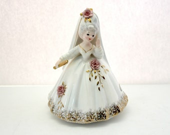 Vintage Josef Originals Marie French XVIII Century Figurine w/ Gold Fan, Pink Roses