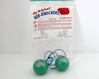 Vintage Ker Knockers Clackers Swinging Balls in Original Bag, Green Sparkle