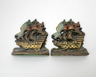 Vintage Pair Sailing Ships Boats Cast Metal Bookends, 1930s Vintage Book Ends