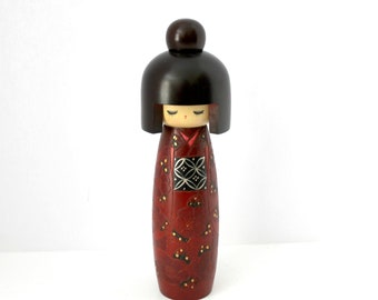 "Japanese Kokeshi Doll, Vintage 9"" Tall Wooden Hand Painted Doll Wood Figure, Red Black"