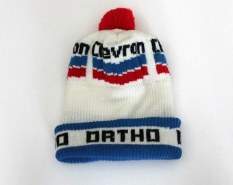 Vintage Chevron Ortho Stocking Cap, Gas Oil Fertilizer Knit Hat, Advertising
