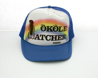 Vintage Hawaii Hawaiian Okole Watcher Mesh Trucker Cap, Adjustable Snap Back Hat, Surfer Hula Girl Tourist Souvenir