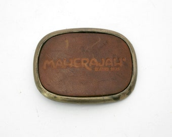 Maherajah Water Skis Belt Buckle, 70s Vintage Leather Brass