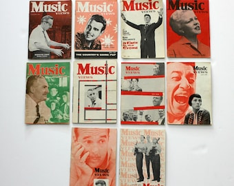 Music Views Magazine Lot 10 1956 - 1959 Kingston Trio, Peggy Lee, Ernie Ford, Stan Kenton, Fred Waring, Dean Martin, Gene Vincent